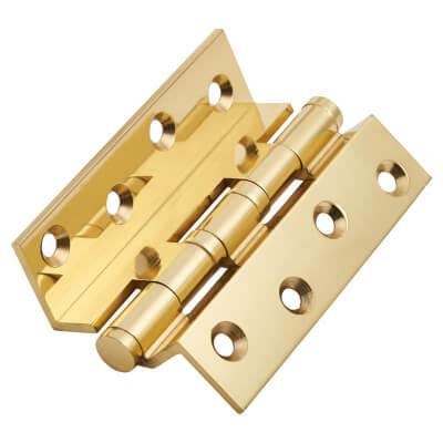 Cranked Ball Bearing Hinge - 100 x 3mm - Polished Brass - Pair