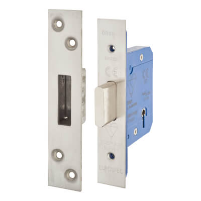 A-Spec BS3621 5 Lever Deadlock - 65mm Case - 44mm Backset - Satin Stainless