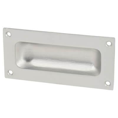 Rectangular Flush Aluminium Door Pull - 90 x 43mm - Satin Aluminium