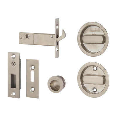 KLÜG Round Flush Handle Set with Latch - Stainless Steel Grade 304 - Satin)