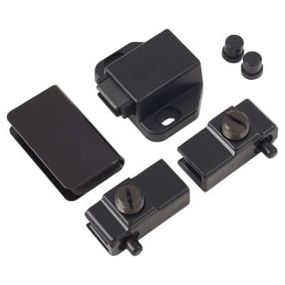 Magnetic Touch Latch for Glass Door with Counter Piece and Pivot Hinges - 43 x 30mm - Black)