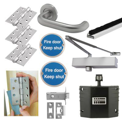 Medium Duty Lever on Rose Fire Door Kit with Hold Open Device - Latch - Stainless Steel