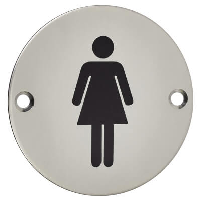 Ladies Toilet Sign - 75mm - Polished Stainless Steel)