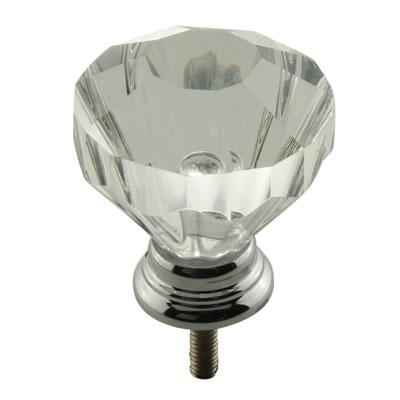Aglio Floral Glass Cabinet Knob - 32mm - Polished Chrome