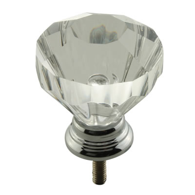Aglio Floral Glass Cabinet Knob - 32mm - Polished Chrome