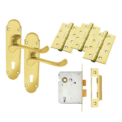 Carlisle Brass Victorian Summer Door Handle Kit - 3 Lever Sashlock - Polished Brass