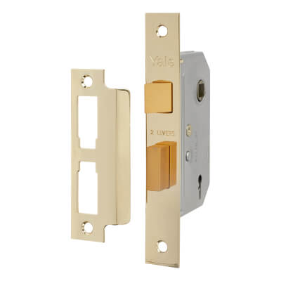 Yale® 2 Lever Interior Door Sashlock - 67mm Case - 45mm Backset - Brass