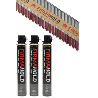 TIMco 34° FirmaHold Clipped Head Nail and Gas - First Fix - 2.8 x 63mm - HDGV - 3 Fuel Cells