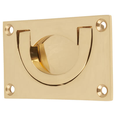 Flush Chest Drawer Pull - 45 x 75mm - Polished Brass
