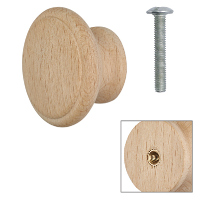 Cabinet Knob - Raw Beech - with Bolt & Insert - 45mm - Pack of 5