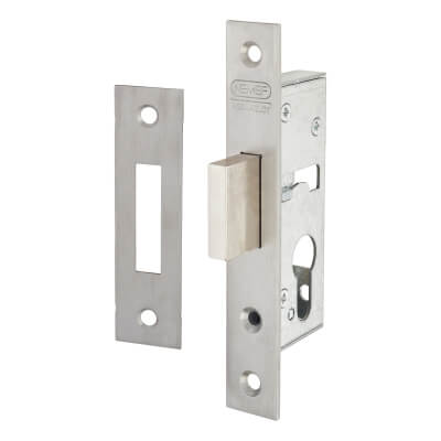 Nemef® 9600 Narrow Style Euro Deadlock - 40mm Case - 25mm Backset - Satin Stainless)