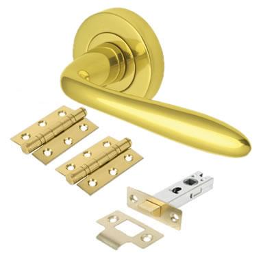 M Marcus Sutton Lever Door Handle on Rose - Door Kit - Polished Brass