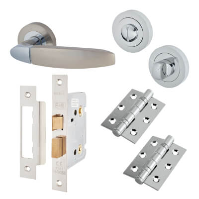 Touchpoint Isobel Lever Door Handle - Bathroom Lock Kit - Polished/Satin Chrome