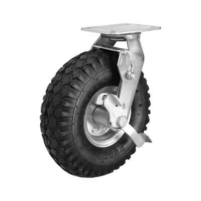 Coldene Rough Terrain Castor - Swivel Braked - Air Filled Tyres - 135kg Maximum Weight - Black