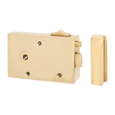 Bathroom/Bedroom Rim Latch - Left Hand - Solid Brass