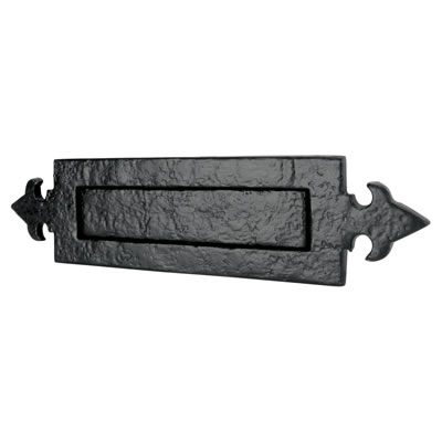 Elden Fleur de Lys Letter Plate - 355 x 90mm - Antique Black Iron)