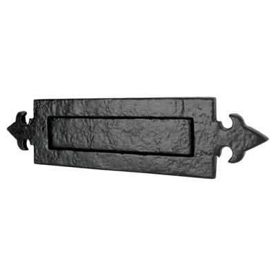 Elden Fleur de Lys Letter Plate - 355 x 90mm - Antique Black Iron)