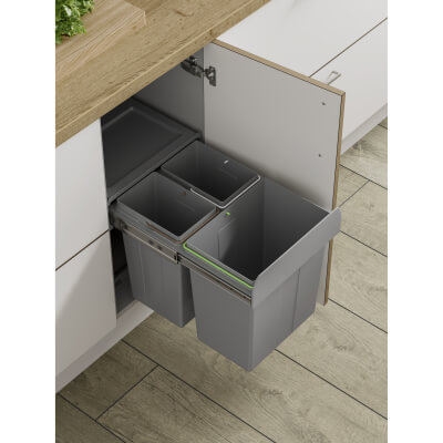 Soft Close Pull Out Waste Bin - Cabinet Width 400mm - 2 x 10L + 1 x 20L