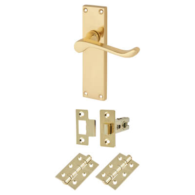 Aglio Victorian Scroll Handle Door Kit - Long Latch Set - Polished Brass