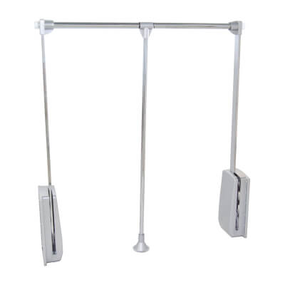 Pull Down Wardrobe Rail - 450-600mm - Chrome)