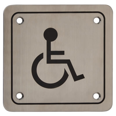 Disabled Square Toilet Door Sign - 100 x 100mm - Satin Stainless Steel