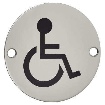 Disabled Toilet Door Sign - 75mm - Polished Stainless Steel)