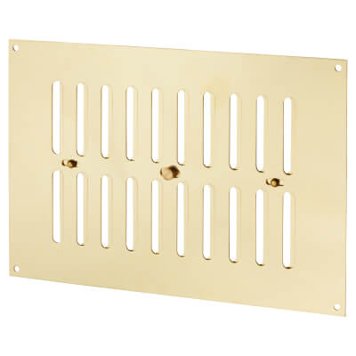 Hit & Miss Pattern Vent - 242 x 165mm - 6604mm2 Free Air Flow - Polished Brass