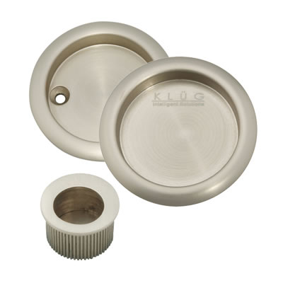 KLÜG Round 3 Piece Flush Handle Set - Satin Nickel)