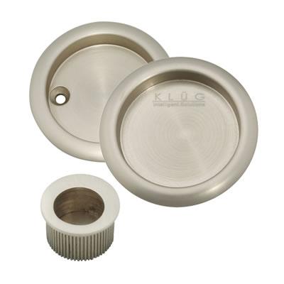 KLÜG Round 3 Piece Flush Handle Set - Satin Nickel