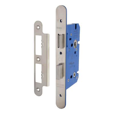 A-Spec Architectural DIN Bathroom Lock - 85mm Case - 60mm Backset - Radius - Satin Stainless