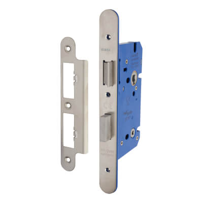 A-Spec Architectural DIN Bathroom Lock - 85mm Case - 60mm Backset - Radius - Satin Stainless