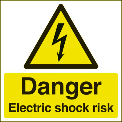Danger Electric Shock Risk - 150 x 150mm