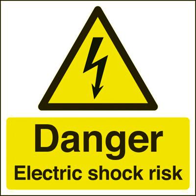 Danger Electric Shock Risk - 150 x 150mm