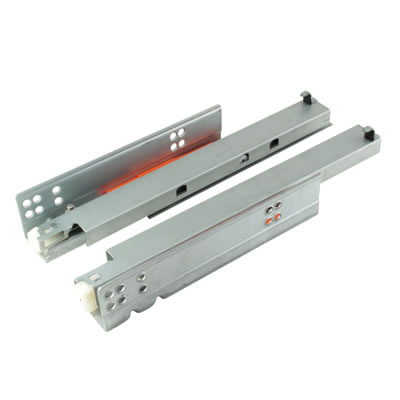 Motion Base Mounted Drawer Runner - Push-To-Open - Double Extension - 450mm - Zinc