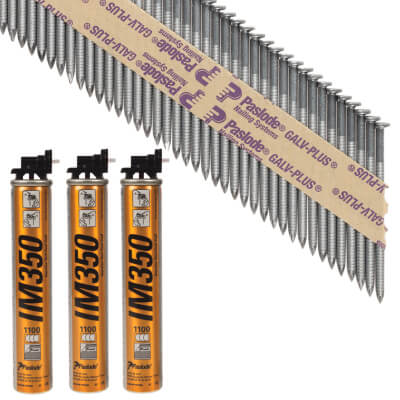Paslode IM350 Framing Nail & Gas - First Fix - 63 x 2.8mm - Galv Plus - Pack 3300