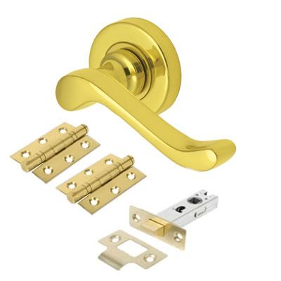 M Marcus Bedford Lever Door Handle on Rose - Door Kit - Polished Brass