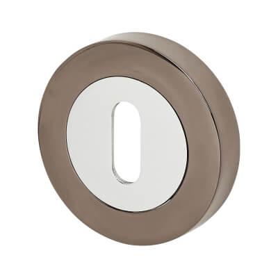 Excel Escutcheon - Keyhole - Polished Chrome / Black Nickel)