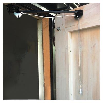 Cord Operated Door Holder - Garage Door - 610mm - Black Japanned)