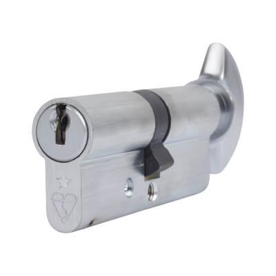 ERA 1 Star Kitemarked Cylinder - Euro Thumbturn - Length 80mm - 40[k]* + 40mm - Nickel)