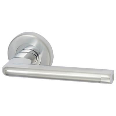 M Marcus Lena Lever Door Handle on Rose - Satin/Polished Chrome)