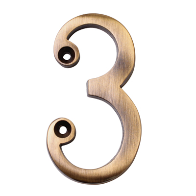 M Marcus 76mm Numeral - 3 - Antique Brass