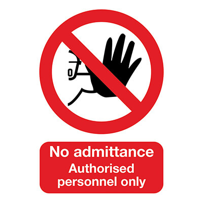 No Admittance Authorised Personnel Only - 420 x 297mm - Rigid Plastic