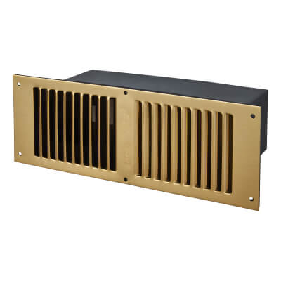 Floor Vent - 267 x 95 x 125mm - 11000mm2 Free Air Flow - Polished Brass