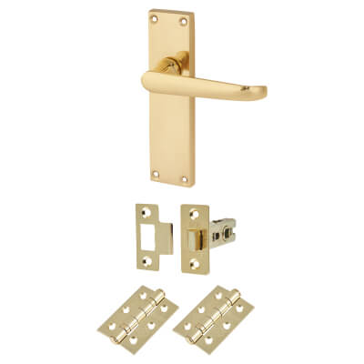 Aglio Victorian Door Handle Kit - Long Latch Set - Polished Brass