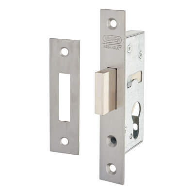 Nemef® 9600 Narrow Style Euro Deadlock - 45mm Case - 30mm Backset - Satin Stainless)