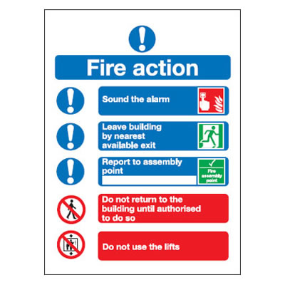 Symbolised Fire Action Notice - 300 x 250mm - Rigid Plastic)