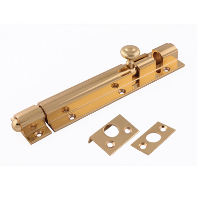 Decorative Straight Barrel Bolt - 150 x 32mm - Polished Brass