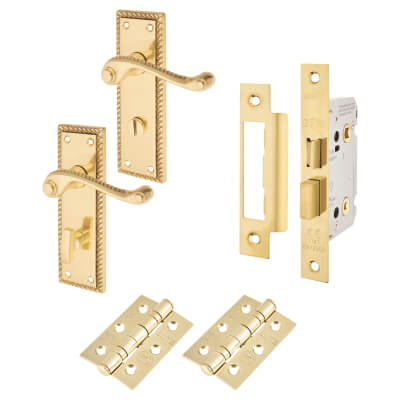 Georgian Handle Door Kit - Bathroom Lock Set - Polished Brass