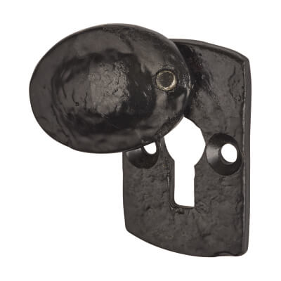 Elden Plaque Covered Escutcheon - Keyhole - Antique Black Iron