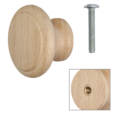 Cabinet Knob - Raw Beech - with Bolt & Insert - 40mm - Pack of 5
